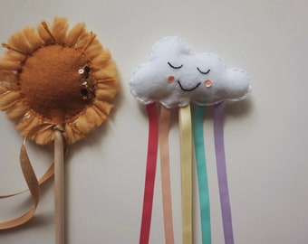 Sun Magic Wand / Rainbow Cloud Fairy Wand / Weather Wand / Costume / Rainbow Birthday / Sun and Cloud party / Dress Up Costume