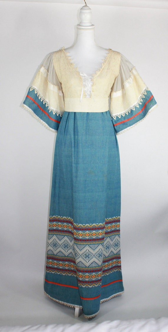 Vintage Boho Peasant Tribal Prairie Maxi Dress