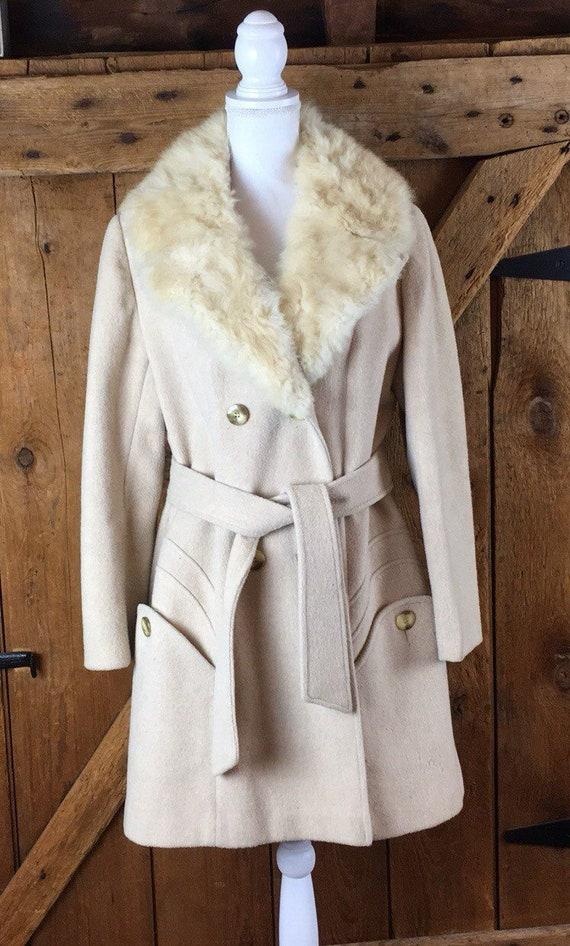 Vintage Belted Wool Coat With Fur Trim