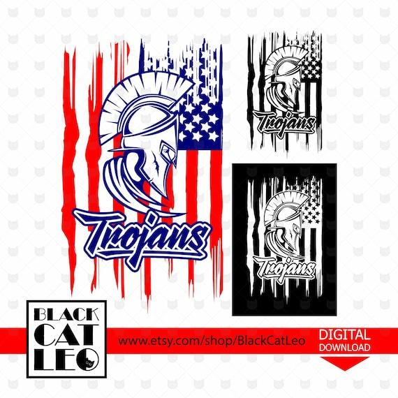 Trojans Svg American Flag Svg Vector T Shirt Design Trojans Etsy