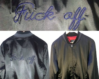 f*ck off embroidered baseball bomber jacket unisex