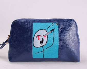 I would rather... cartoon Embroidered leather Envelope/Pouch Tote