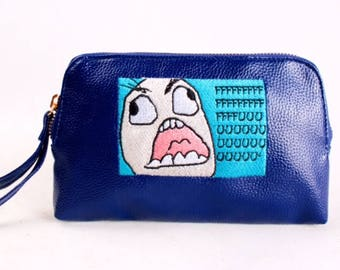 FFFFFF UUUU cartoon Embroidered leather Envelope/Pouch Tote