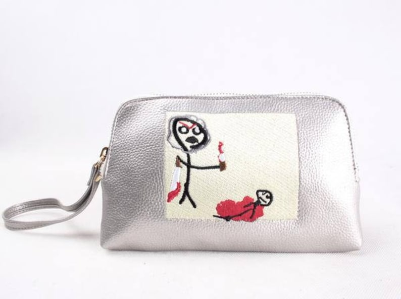 Don't hurt yourself Embroidered leather Pouch / Tote image 0