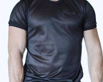 f*ck off printed mesh t shirt