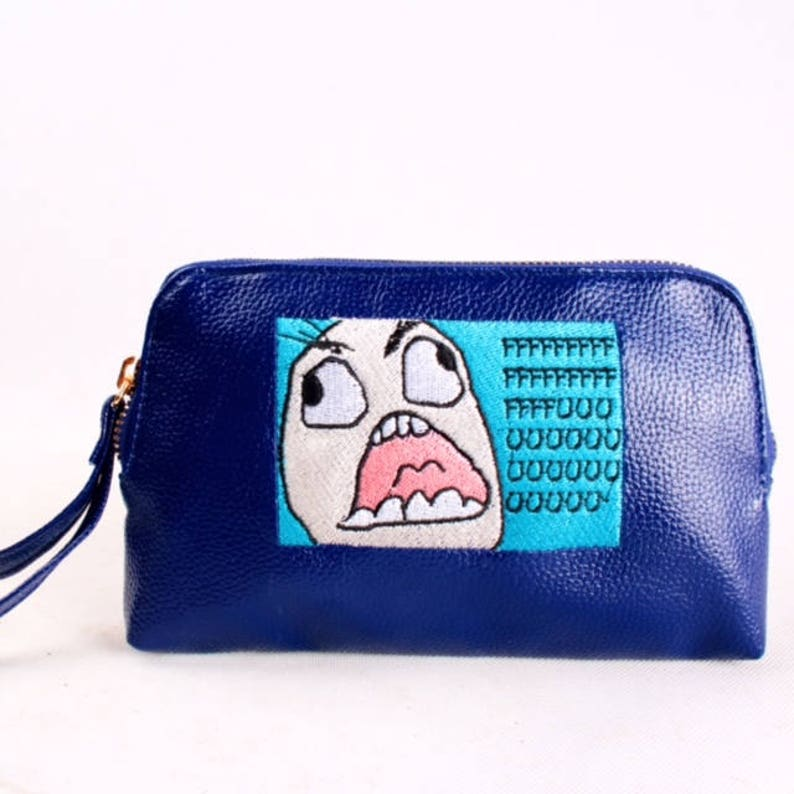 FFFFFF UUUU cartoon Embroidered leather Envelope/Pouch Tote image 0