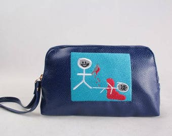 Look at what you made me do - Embroidered leather Pouch / Tote