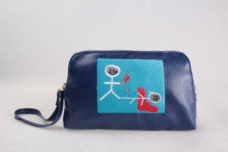 Look at what you made me do  Embroidered leather Pouch / Tote image 0
