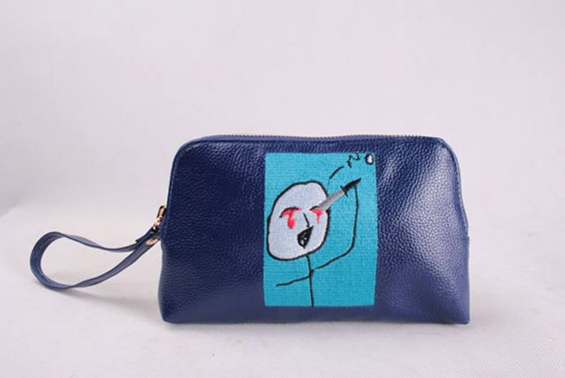 I would rather... cartoon Embroidered leather Envelope/Pouch image 0