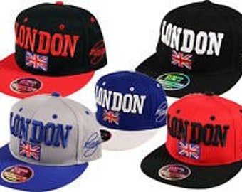 67ac9fd0f7ebf London cap 2 tone- GB Union Jack Flag Snapback Flat Peak Snap Back Baseball Cap  Hat