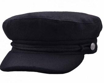 Wool Felt Fisherman Fiddler Caps - Black and Navy d28d555fe237