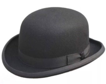 Bowler hat black wool classic style in black colour only vintage style 1c47256cc24