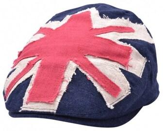 efe2d833a0a37 Union Jack Patch Flat Cap - Blue