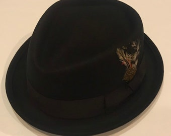 57f31cb4f6d Pork pie hat wool diamond shape black crushable unisex style genuine best  quality porkpie hat handmade with removable feather