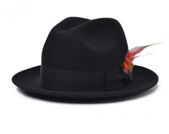 fc5f6a7d578f2 Black Fedora Hat porkpie style flip brim With Band And Feather for men