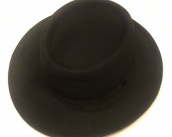 a68259490516a0 Crushable Wool Felt Gambler Cowboy hat with band - Black also avaible with  buckle band- wide brim fedora type soft
