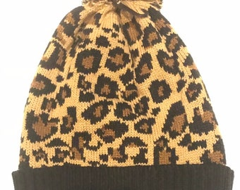 5bfb0f78a53 Leopard beanie hat with pom pom and one size- hand made