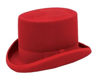 c01dc6cf2e1 Top hat red wool felt hand made with satin lining bow classic style-  Victorian style vintage (clearance)