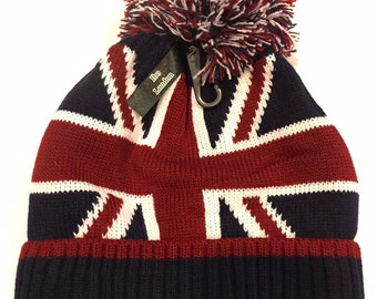 1dd507d125c Union Jack hat beanie with fleece lining inside and detachable pom pom-  unisex one size classic style best quality nice and warm