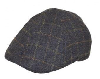 0535feb515a Flat cap 6 panel hat wool check design