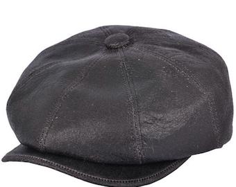 90566c6a7 Leather newsboy cap | Etsy