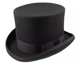 f1215997006 Top hat wool felt hand made with satin lining bow and removable feather  classic style steampunk top hat best quality Victorian style