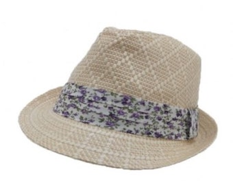 68a1fe25f2d94 Trilby Hat with Flower Printed Band- straw hat with elsatic band inside for  better fit