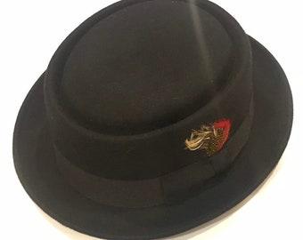 30975afb7d2 Pork pie hat wool black crushable unisex style genuine best quality porkpie  hat handmade