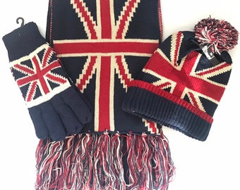 a72729e650e6b Union jack set- union jack winter set of gloves hat and scarf- very warm  one size
