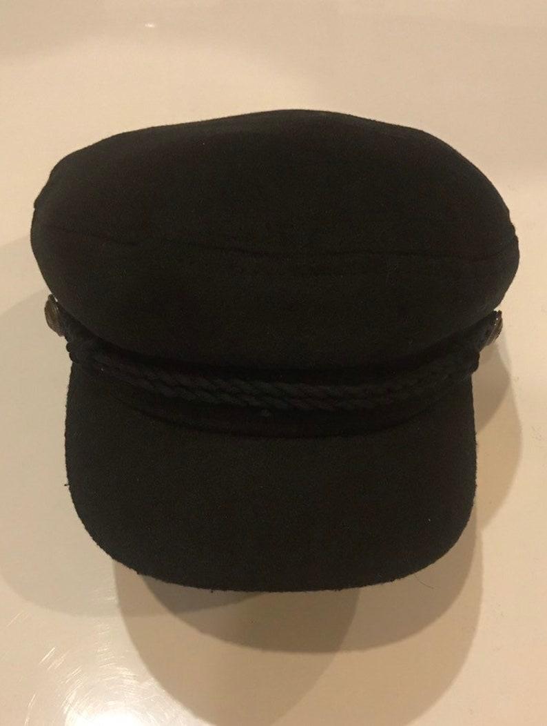 Fiddler Cap Greek fisherman hat Black baker boy style wool  6d03b8c9e584
