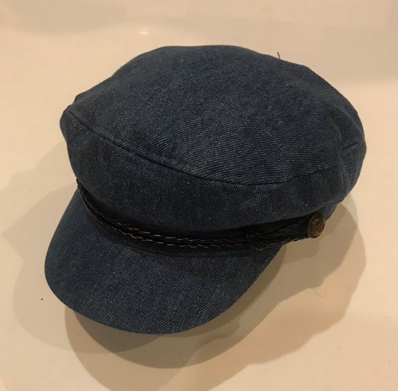 14c55711a3 Denim fiddler cap Greek fisherman style captain hat