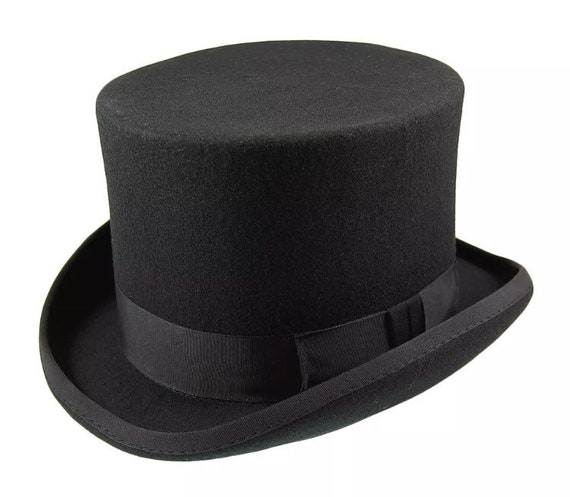 Top hat wool felt hand made with satin lining bow and  49b78a0ba14b