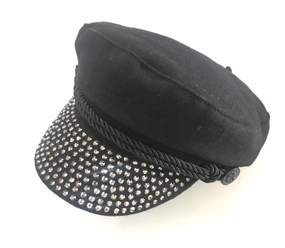 Fiddler Caps Black Greek fisherman hat with gems design  f594665f18c5