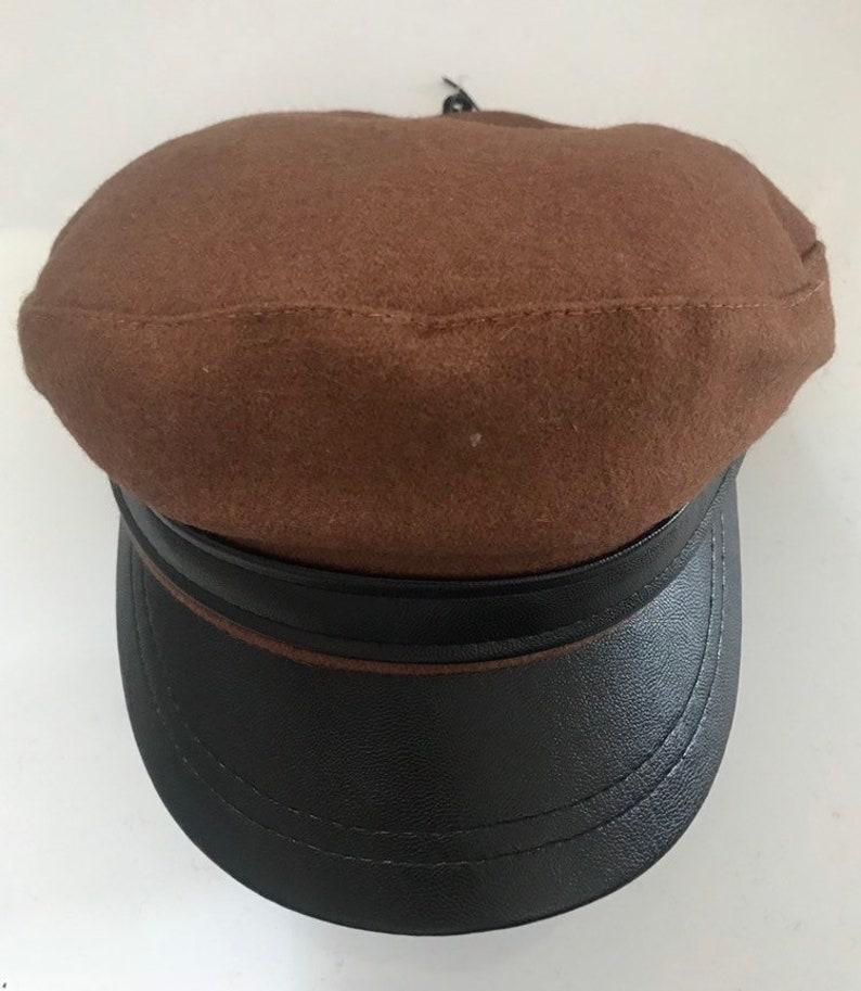 Fiddler Caps Pu peak leather look wool felt Greek style  84d2c01b5815