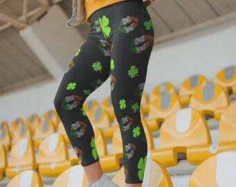 de2c041dbb4b09 Green Leggings, Lucky Green Leggings, Irish Leggings, St Patricks Leggings, Yoga  Leggings, Best Yoga Pants, Yoga Leggings Mid Waist