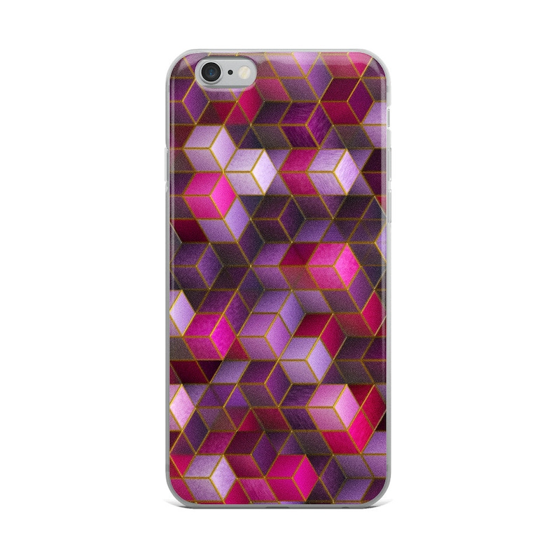 sports shoes c7a62 dcb5b Pink iPhone Case, Pink 3D Pattern Phone Case, Pink Cube Square Pink Phone  case, Pink 3D Phase Case for iPhone 6/ 6S, 6 Plus / 6s Plus, 7/8,