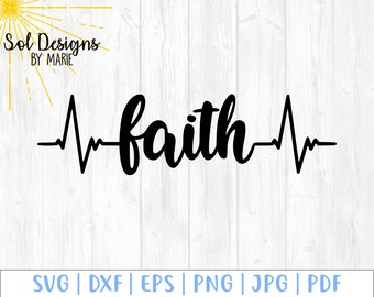 Faith Pulse Heartbeat svg - walk by faith svg - faith over fear svg- religious svg - instant download - svg dxf eps png jpg pdf