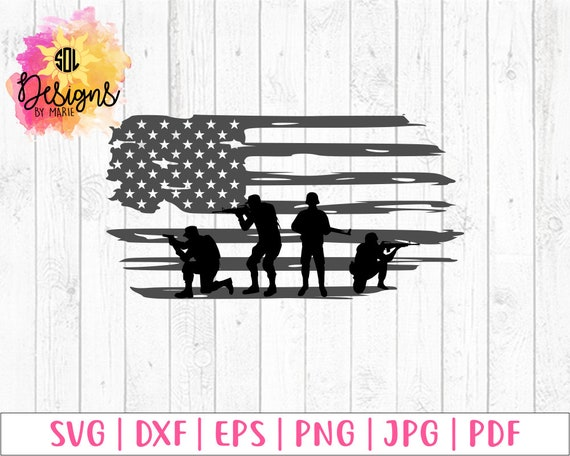 Distressed American Flag And Soldiers Svg America The Etsy