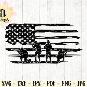 Distressed American Flag and Soldiers svg instant download Cricut Silhouette cut file svg dxf eps png jpg pdf America the Beautiful