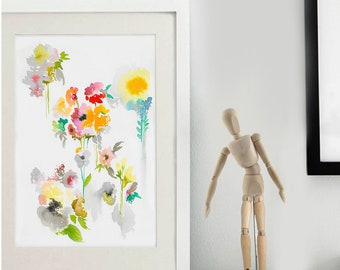 Allover Repeat Watercolor Floral painting/FREE SHIPPING/floral original painting/chic floral wall art/colorful floral art/abstract floral