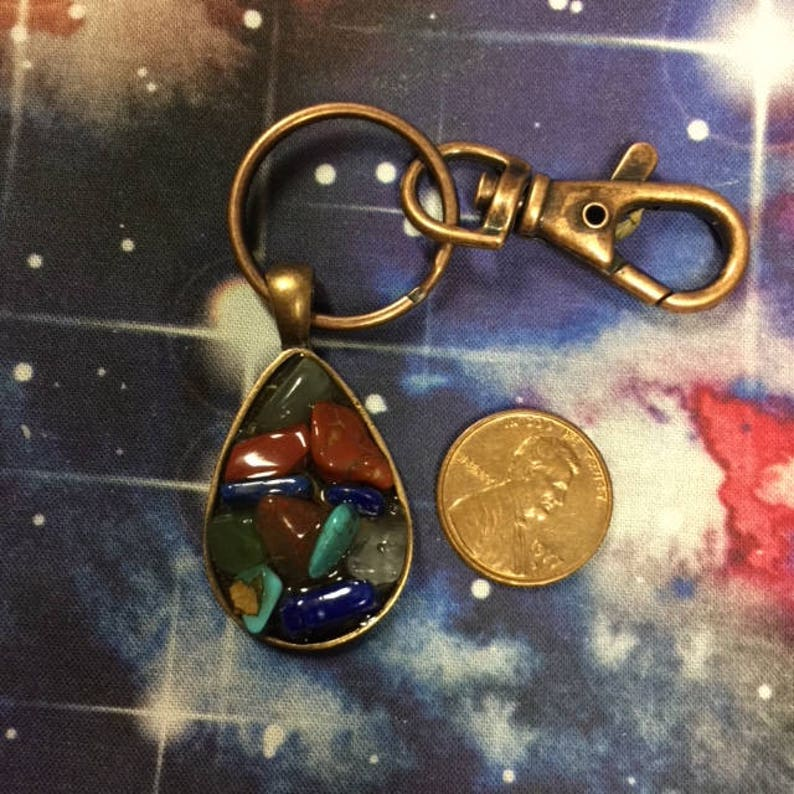 Keychain Protection Amulet - jewelry, protect, travel spell, crystals,  gems, Reiki, new age, lapis, charm, magick, witch, ritual, chakra