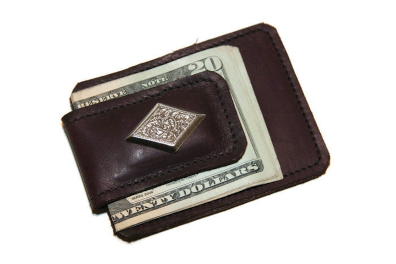 cd13e6e3d284 Leather Magnetic Money Clip Card Wallet with Silver Plated