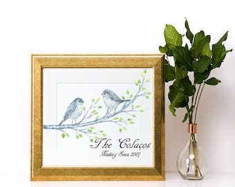 Bird and Branch Personalized Family Name Sign