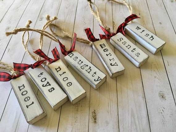 new set of 8 farmhouse christmas word ornaments etsy