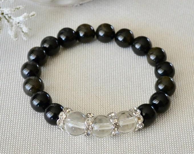Rainbow obsidian, Obsidian bracelet, Quartz bracelet, Sheen obsidian, Intention bracelet, reiki energy, yoga gift, healing crystals, dainty
