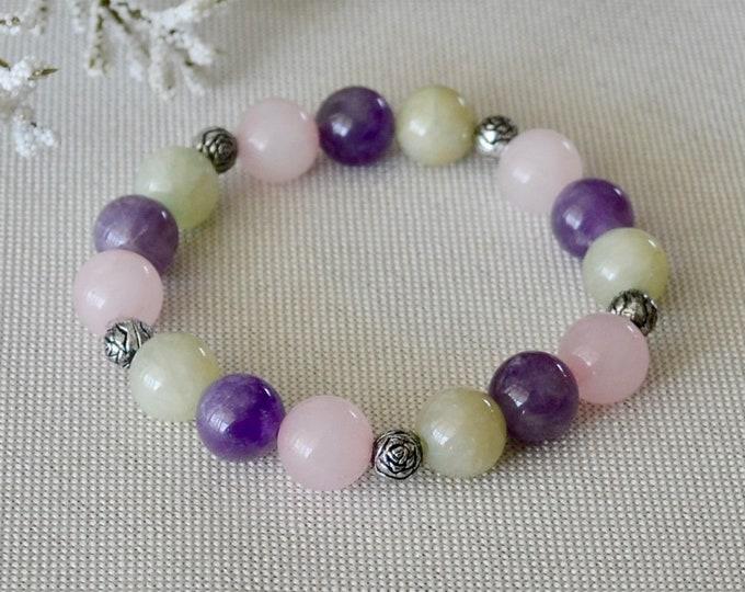 Meditation bracelet, Jade bracelet, Rose quartz for girl, Amethyst bracelet, Birthstone February, healing crystals, love attracting, gift