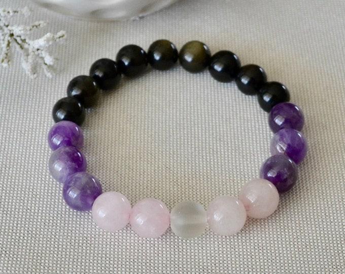Rainbow obsidian, Amethyst bracelet, Rose quartz for girl, birthstone February, Aquarius gift, healing crystal, chakra stone, reiki energy,