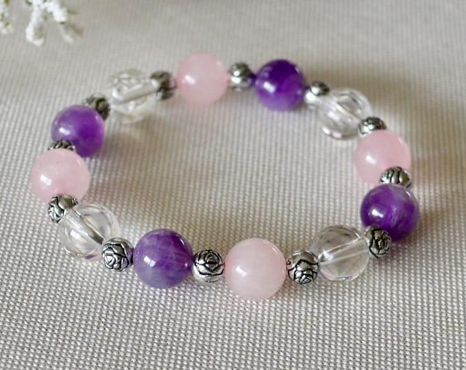 Amethyst bracelet, Rose quartz for girl, Love bracelet, Birthstone February, Crown chakra,  Hearth chakra, healing crystals, gift for girl