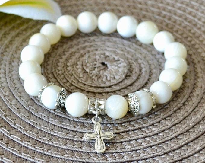 Shell bracelet, cross charm, Christening gift, baptism gift, chakra bracelet, healing stone, reiki healing, stretch bracelet, for children