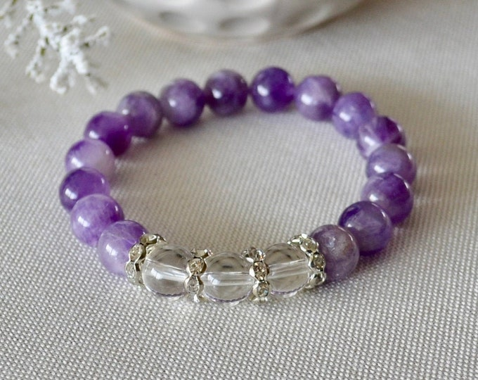 Birthstone February, Amethyst bracelet, Aquarius gift, protecting bracelet, crown chakra , reiki energy, healing crystals, reiki bracelet